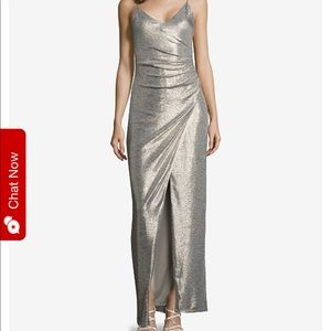 Betsy + Adam Ruched Metallic Slit Gown